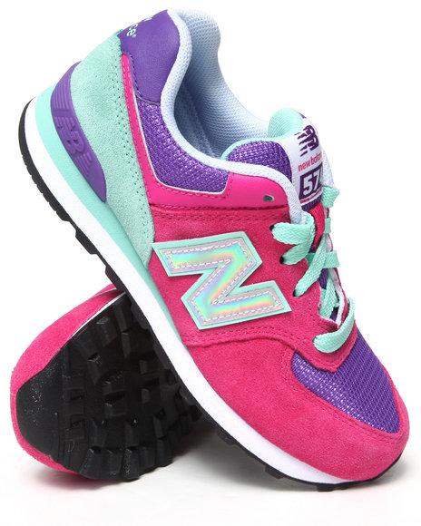 New Balance - Girls Pink 574 Hologram Sneaker (11-3)