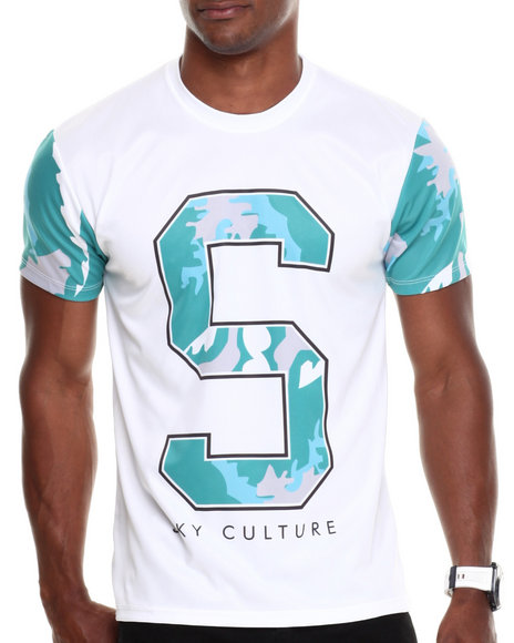 Buyers Picks - Men White Sc Waves Camo Cut And Sew S/S Tee