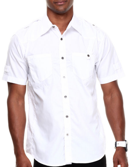 Basic Essentials - Men White Epaulette Woven Shirt