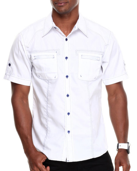Basic Essentials - Men White Multi Color Short Sleeve Woven Shirt