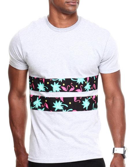 Buyers Picks - Men Grey Sky Culture Pink Colonies Double Stripe Pocket Tee - $16.99