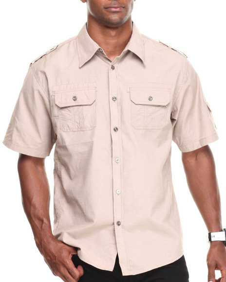Basic Essentials - Men Khaki Pocket Short Sleeve Woven Shirt