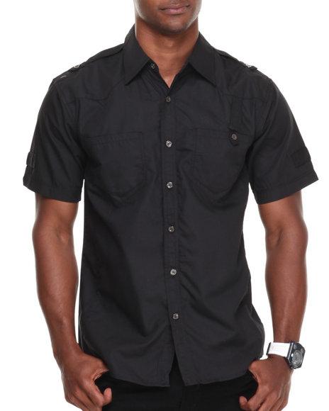Black Mens Button Shirt Pocket