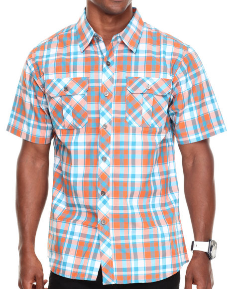Basic Essentials - Men Teal Short Sleeve Plaid Woven Shirt