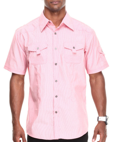 Basic Essentials Red Solid Woven Shirt