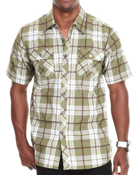 Basic Essentials - Men Olive Short Sleeve Plaid Woven Shirt