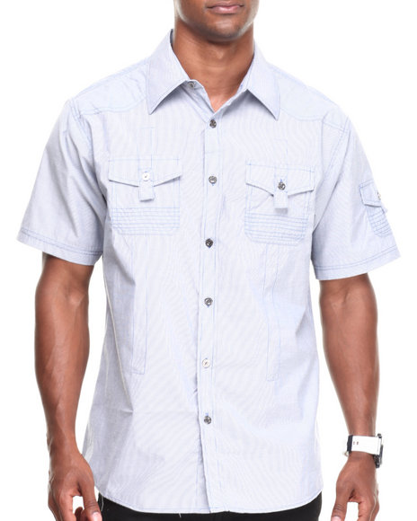 Basic Essentials - Men Blue Solid Woven Shirt