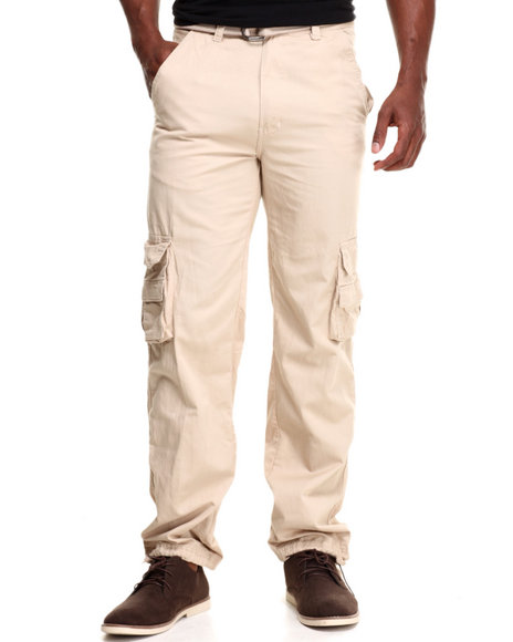 Basic Essentials - Men Khaki Camo Washed Crinkle Cargo Pants