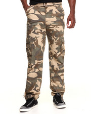 Basic Essentials - Camo Washed Crinkle Cargo Pants
