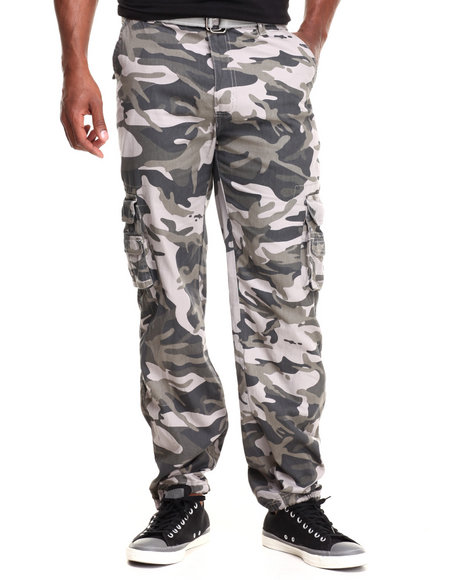 Basic Essentials - Men Camo Camo Washed Crinkle Cargo Pants