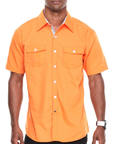 Basic Essentials - Men Orange Solid Woven Shirt