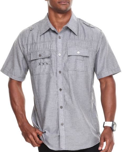 Basic Essentials - Men Grey Solid Woven Shirt
