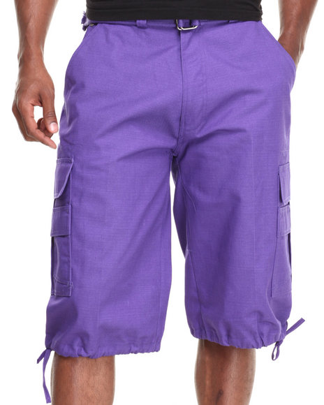 Buyers Picks - Men Purple Cargo Shorts With Belt