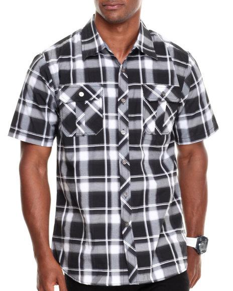 Basic Essentials Black Short Sleeve Plaid Woven Shirt