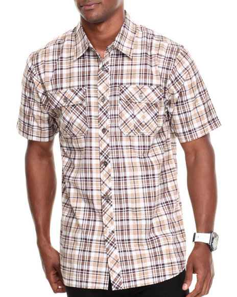 Basic Essentials - Men Brown Short Sleeve Plaid Woven Shirt