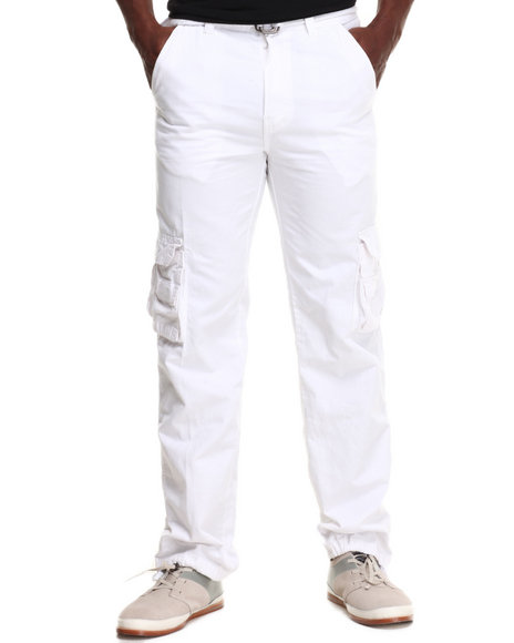 Basic Essentials - Men White Washed Crinkle Cargo Pants
