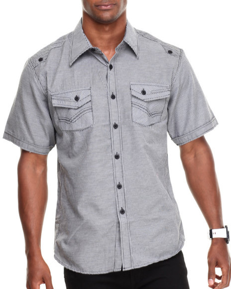 Basic Essentials - Men Charcoal Embroidered Short Sleeve Woven Shirt