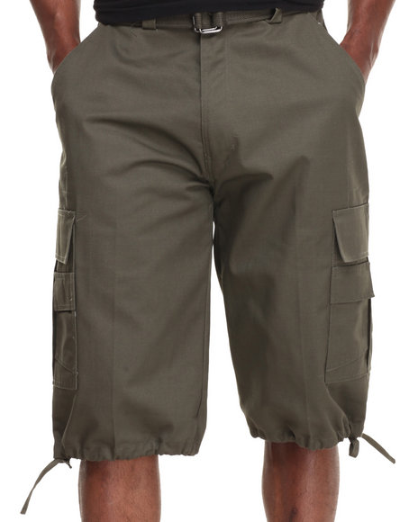 Ur-ID 214993 Basic Essentials - Men Olive Cargo Shorts With Belt