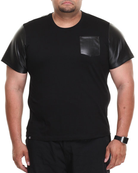 Akademiks - Men Black Kurt Short Sleeve Tee W/ Perforated Vegan Leather Trim (B&T) - $9.99