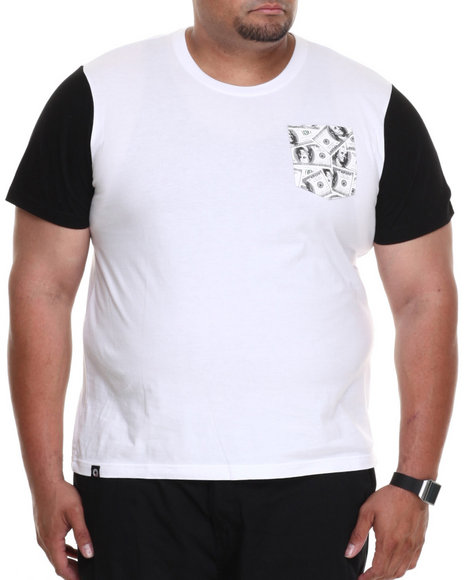 Akademiks - Men White Commander Colorblock Tee W/ Vegan Leather Money Print Pocket (B&T) - $4.99