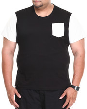 Akademiks - Kurt Short Sleeve Tee w/ Perforated Vegan Leather Trim (B&T)