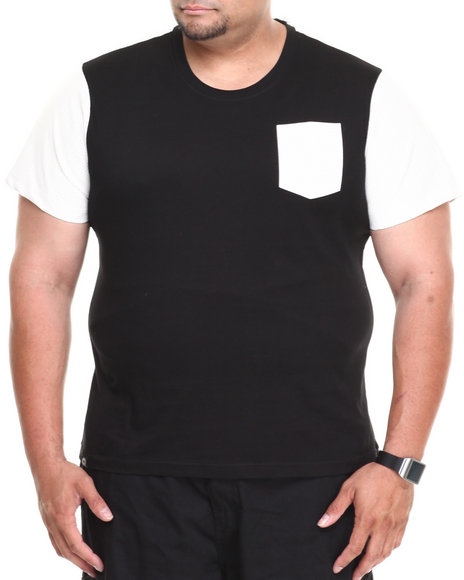 Akademiks - Men Black Kurt Short Sleeve Tee W/ Perforated Vegan Leather Trim (B&T) - $11.99