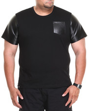 Big & Tall - Burke Short Sleeve Tee w/ Vegan Leather Trim (B&T)