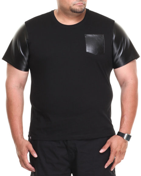 Akademiks - Men Black Burke Short Sleeve Tee W/ Vegan Leather Trim (B&T) - $14.99