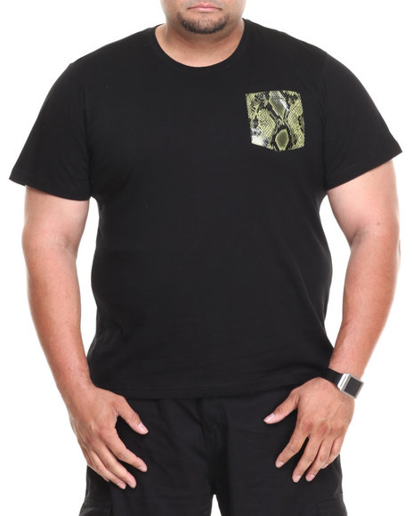 Akademiks - Men Black Clipper Short Sleeve Tee W/ Green Vegan Leather Snake Skin Pocket (B&T)