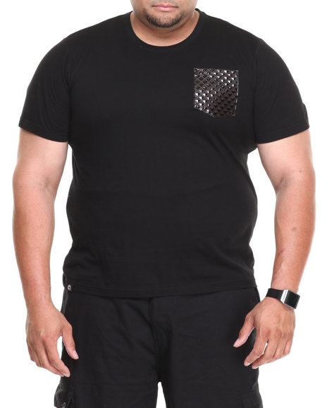 Akademiks - Men Black Flight Hawk Short Sleeve Tee W/ Patterned Vegan Leather Pocket (B&T) - $11.99