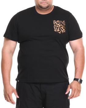Akademiks - Daytona Short Sleeve Tee w/ Leopard Vegan Leather Pocket (B&T)