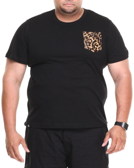 Akademiks - Men Black Daytona Short Sleeve Tee W/ Leopard Vegan Leather Pocket (B&T) - $5.99
