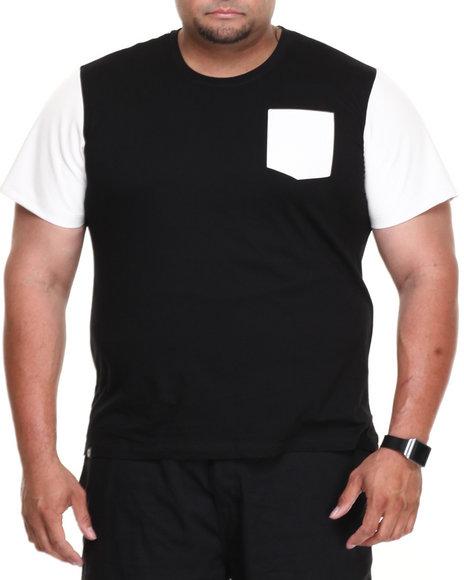 Akademiks - Men Black Burke Short Sleeve Tee W/ Vegan Leather Trim (B&T) - $9.99