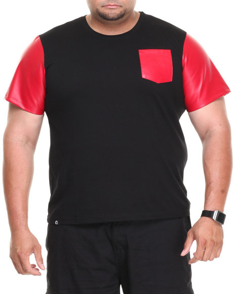 Akademiks - Men Black,Red Burke Short Sleeve Tee W/ Vegan Leather Trim (B&T) - $12.99