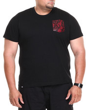 Big & Tall - Starlight Short Sleeve Tee w/ Red Vegan Leather Snake Skin Pocket (B&T)