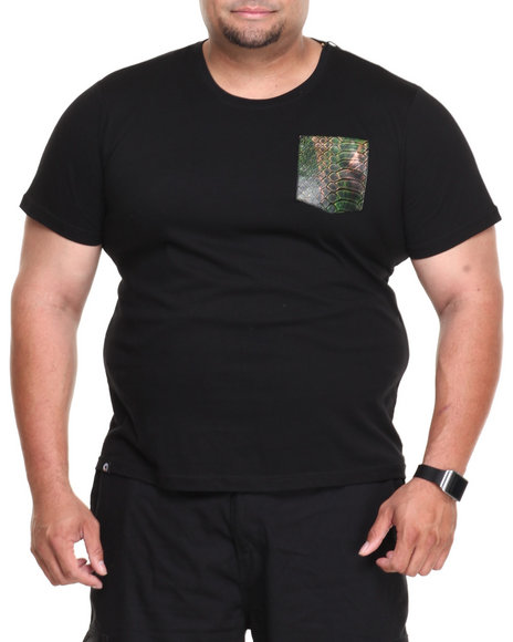 Akademiks Black Cruiser Short Sleeve Tee W/ Vegan Leather Python Print Pocket (Big & Tall)