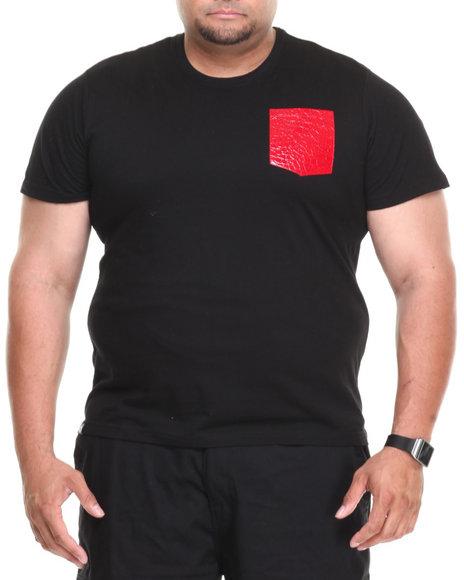 Akademiks - Men Black Hawk Short Sleeve Tee W/ Vegan Leather Snake Skin Pocket (B&T)