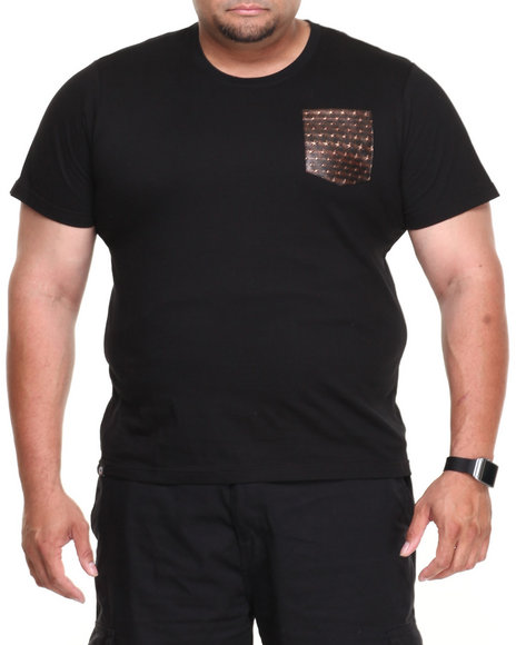 Akademiks Black Champ Short Sleeve Tee W/ Vegan Leather Star Print Pocket (Big & Tall)