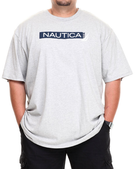 Nautica Grey Nautica Bar T-Shirt (Big & Tall)