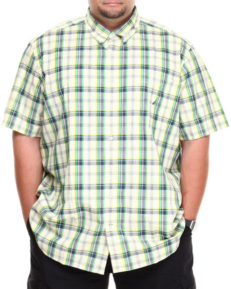 Nautica Yellow Pop Plaid S/S Button-Down (Big & Tall)