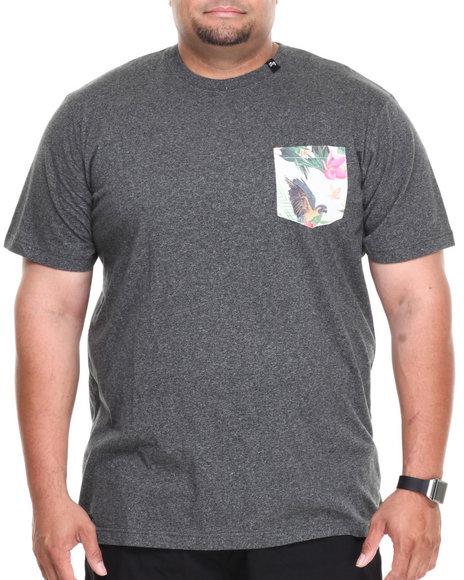 Lrg - Men Black Hawaiian Safari Pocket S/S Tee (B&T)
