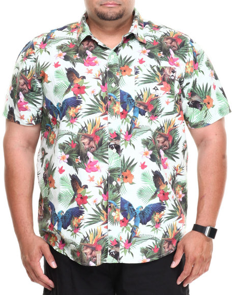 Lrg - Men Multi Hawaiian Safari S/S Button-Down (B&T)