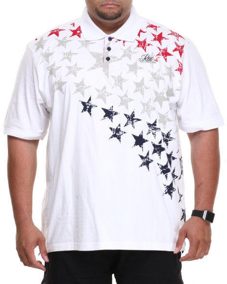 Rocawear White Americana Star Polo (Big & Tall)