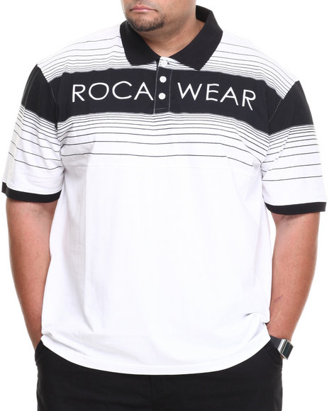 Rocawear - Men White Stripe Polo (B&T)