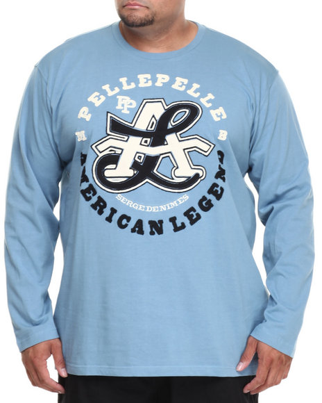 Pelle Pelle - Men Light Blue L/S American Legend Knit Shirt (B&T) - $23.99