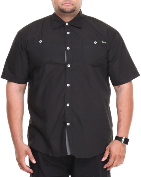 Akademiks Black Glory Solid Short Sleeve Button Down Shirt (Big & Tall)