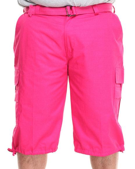 Basic Essentials - Men Pink Cargo Shorts With Belt