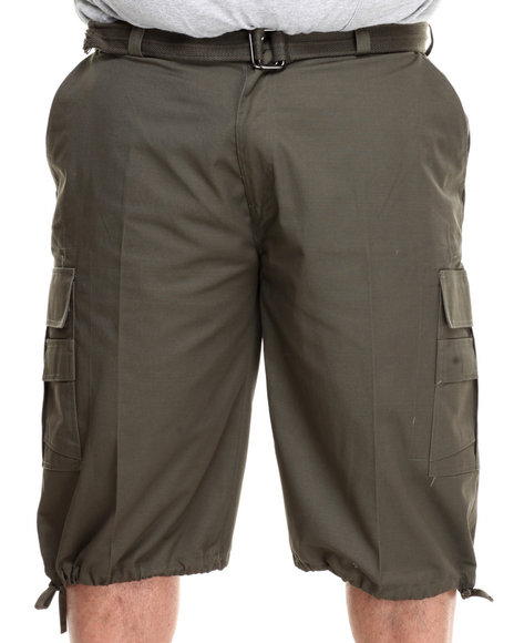 Basic Essentials - Men Olive Cargo Shorts With Belt (B&T) - $19.99
