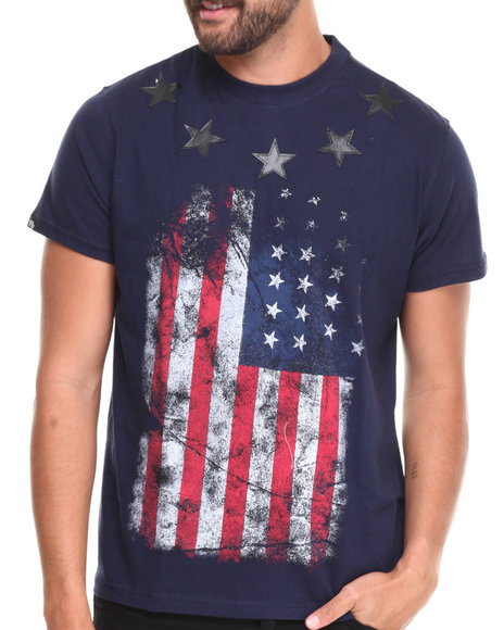 Buyers Picks - Men Navy Faux Leather Stars American Flag S/S Tee