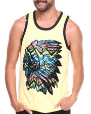 Men - Chevron Print Indian Chief Graphic Tank Top